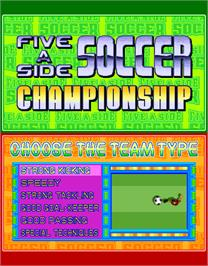 Select Screen for Five a Side Soccer.