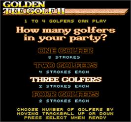 Select Screen for Golden Tee Golf II.