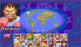 Select Screen for Hyper Street Fighter II: The Anniversary Edition.