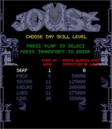 Select Screen for Joust 2 - Survival of the Fittest.
