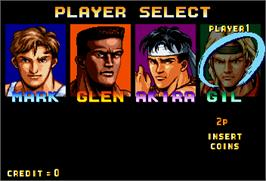 Select Screen for Karate Blazers.