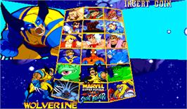 Select Screen for Marvel Super Heroes Vs. Street Fighter.