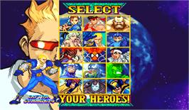 Select Screen for Marvel Vs. Capcom: Clash of Super Heroes.