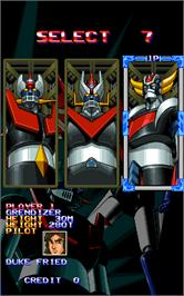 Select Screen for Mazinger Z.