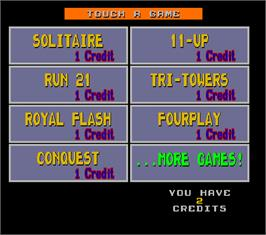 Select Screen for Megatouch IV Tournament Edition.