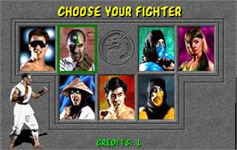 Select Screen for Mortal Kombat.