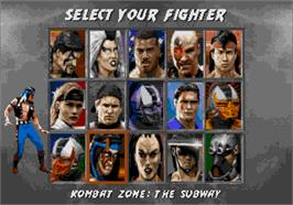 Select Screen for Mortal Kombat 3.