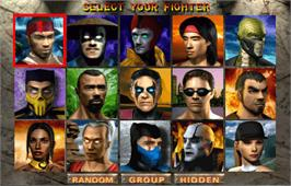 Select Screen for Mortal Kombat 4.