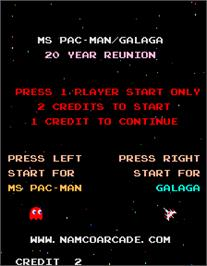 Select Screen for Ms. Pac-Man/Galaga - 20th Anniversary Class of 1981 Reunion.