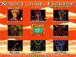 Select Screen for Mutant Fighter.