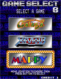 Select Screen for Namco Classic Collection Vol.1.