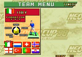 Select Screen for Neo-Geo Cup '98 - The Road to the Victory.