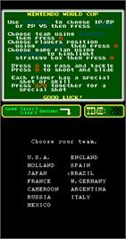 Select Screen for Nintendo World Cup.