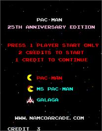 Select Screen for Pac-Man - 25th Anniversary Edition.