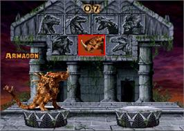 Select Screen for Primal Rage.