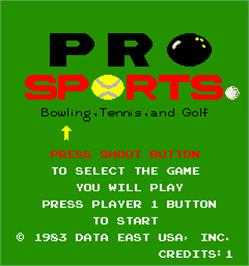 Select Screen for Pro Sports - Bowling, Tennis, and Golf.