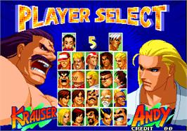 Select Screen for Real Bout Fatal Fury 2 - The Newcomers.