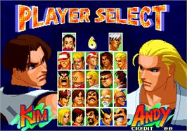 Select Screen for Real Bout Fatal Fury 2 - The Newcomers / Real Bout Garou Densetsu 2 - the newcomers.