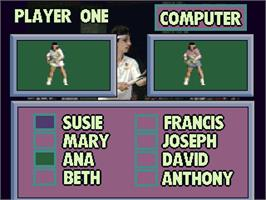 Select Screen for Reality Tennis.