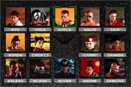 Select Screen for Street Fighter: The Movie.