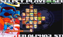 Select Screen for Street Fighter Alpha 3.