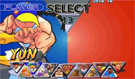 Select Screen for Street Fighter III 2nd Impact: Giant Attack.