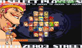 Select Screen for Street Fighter Zero 3.