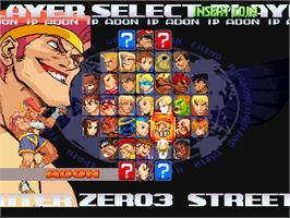 Select Screen for Street Fighter Zero 3 Upper.