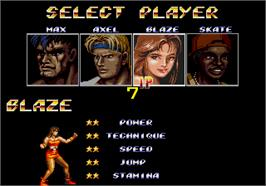 Select Screen for Streets of Rage II.