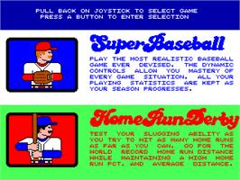 Select Screen for Super Baseball Double Play Home Run Derby.