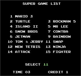 Select Screen for Super Game III.