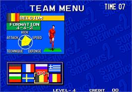 Select Screen for Super Sidekicks 2 - The World Championship / Tokuten Ou 2 - real fight football.