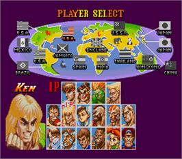 Select Screen for Super Street Fighter II - The New Challengers.