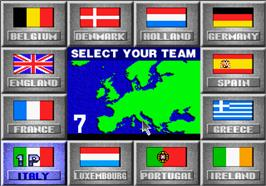 Select Screen for Super Visual Football: European Sega Cup.