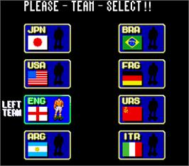 Select Screen for Tecmo World Cup '90.