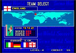 Select Screen for Tecmo World Soccer '96.