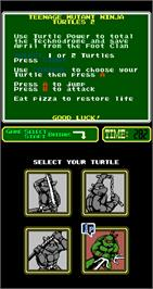 Select Screen for Teenage Mutant Ninja Turtles II: The Arcade Game.