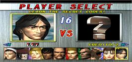 Select Screen for Tekken 2.