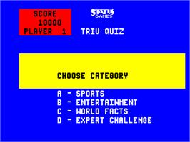 Select Screen for Triv Quiz.