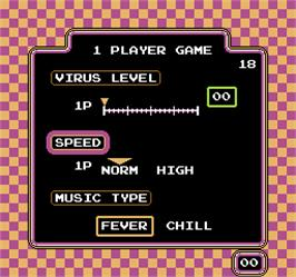 Select Screen for Vs. Dr. Mario.
