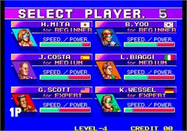 Select Screen for Windjammers / Flying Power Disc.