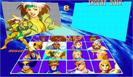 Select Screen for X-Men Vs. Street Fighter.
