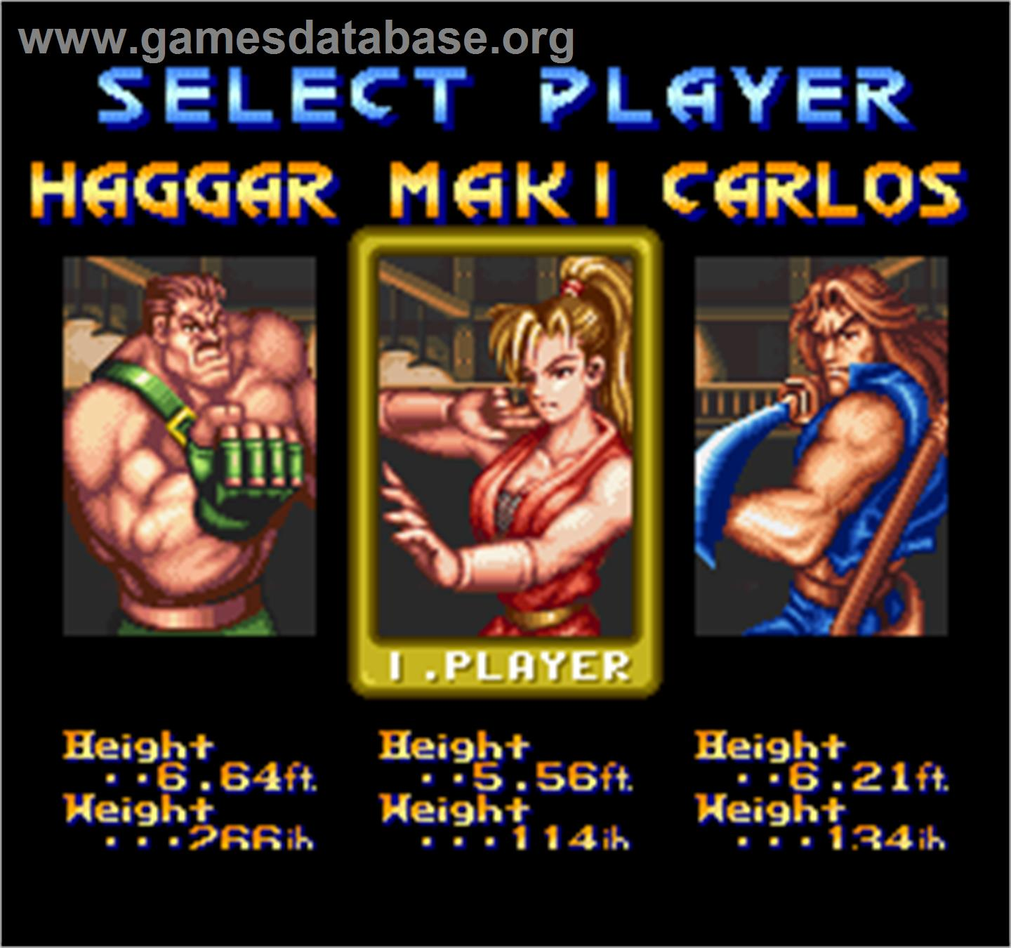 Final Fight 2 - Arcade - Artwork - Select Screen