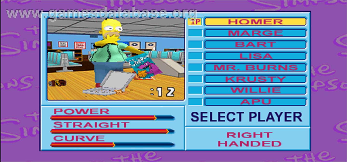 Simpsons Bowling - Arcade - Artwork - Select Screen
