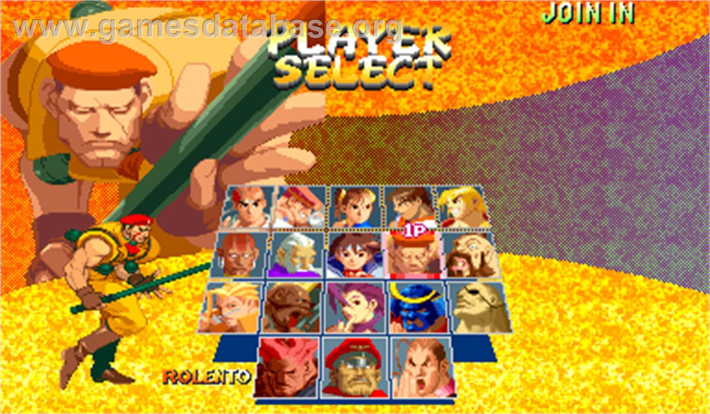 Street Fighter Zero 2 Alpha Arcade Artwork Select Screen