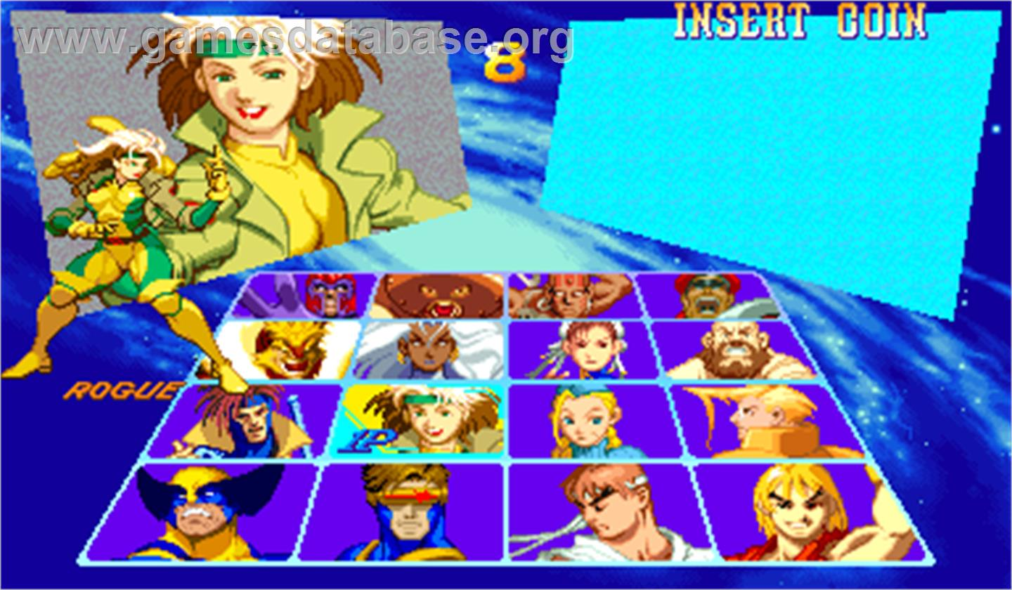 X-Men Vs. Street Fighter - Arcade - Artwork - Select Screen