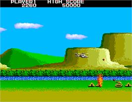 In game image of Airwolf on the Arcade.