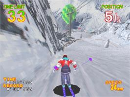 In game image of Alpine Racer 2 on the Arcade.