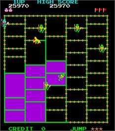In game image of Amidar on the Arcade.