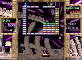 In game image of Arkanoid Returns on the Arcade.